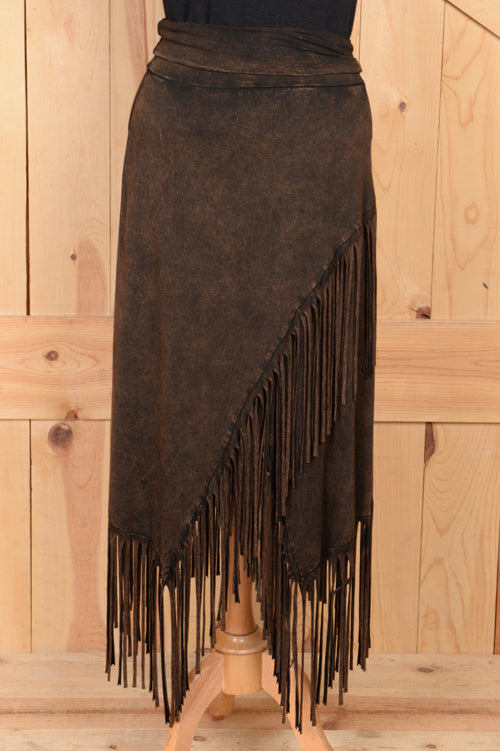 Rhonda Stark Brown Fringe Skirt