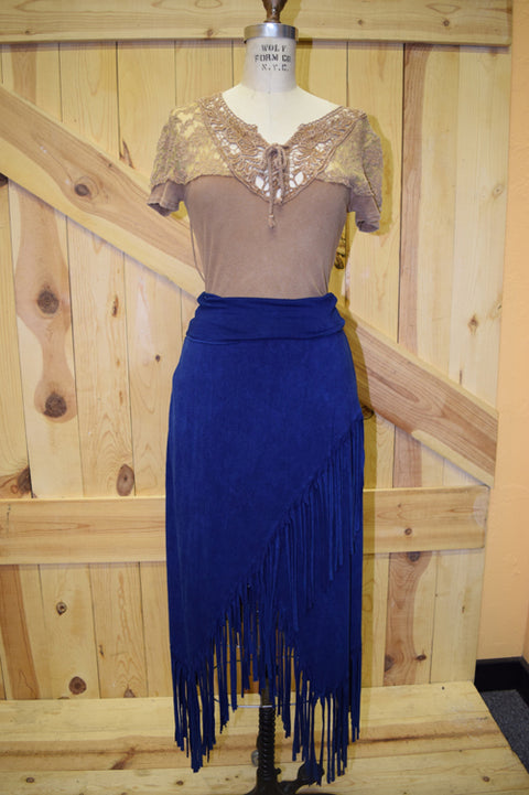 Rhonda Stark Asymmetric Fringe Knit Skirt Dark Blue