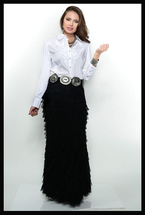 The Vintage Collection Long Ruffled Mermaid Skirt-Black or Ivory
