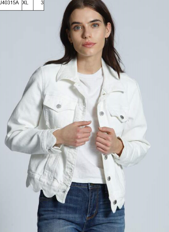 Driftwood Women's Scallop White Denim Jacket