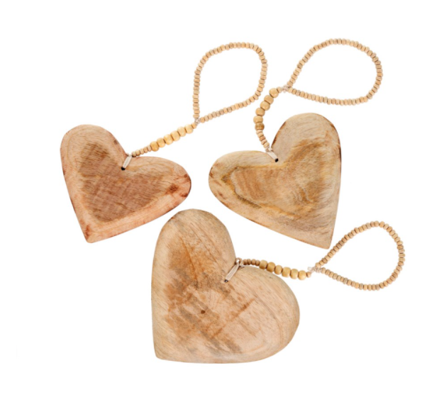 Wooden Heart on Wood Beads