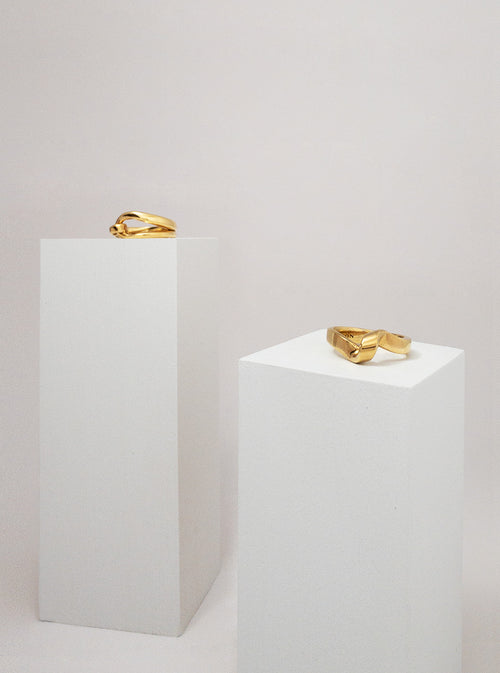 Layla sculpted gold vermeil ring