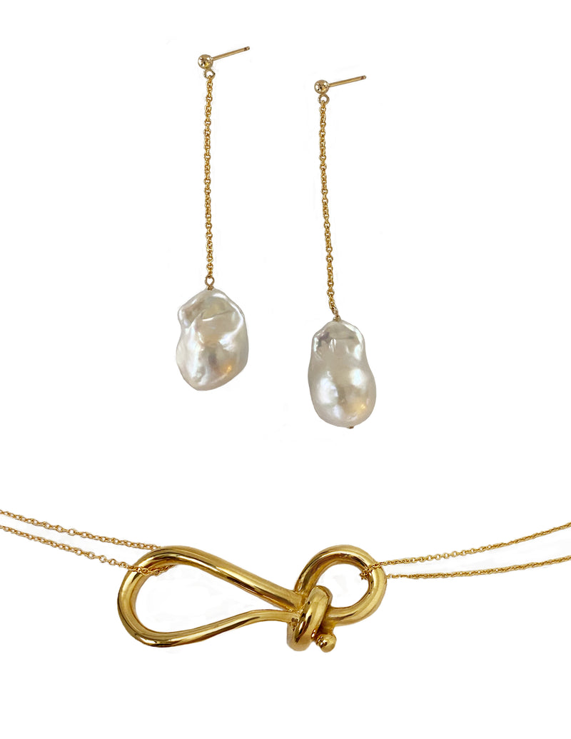 Leah big knot necklace with Aurora pearl earrings set