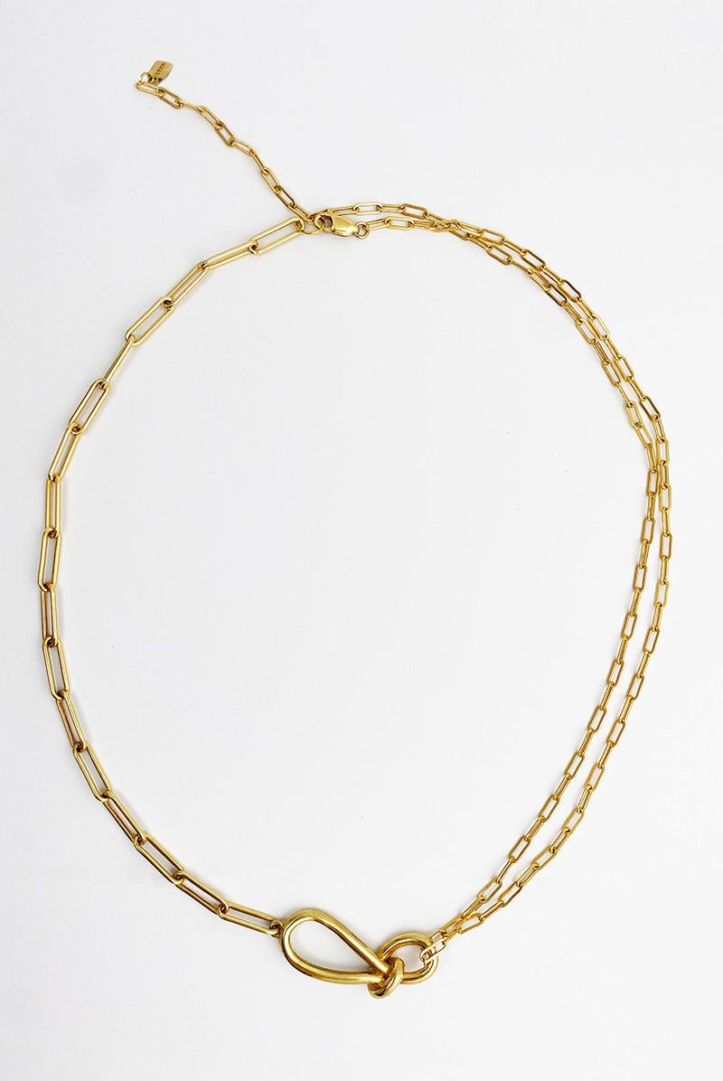 Leah small knot paper clip chain necklace