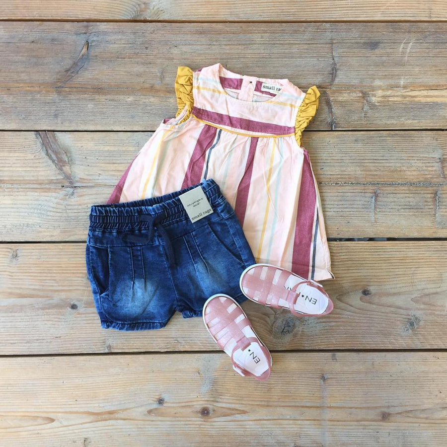 Small Rags Denim Short flatlay met tuniek
