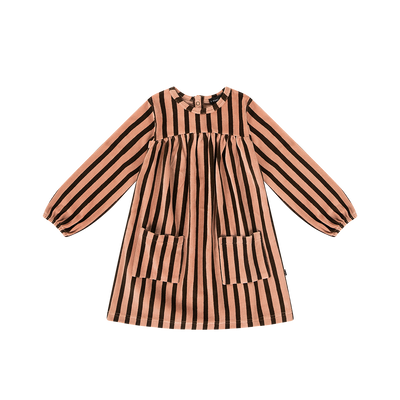 Pocket Jurk Choco Stripe