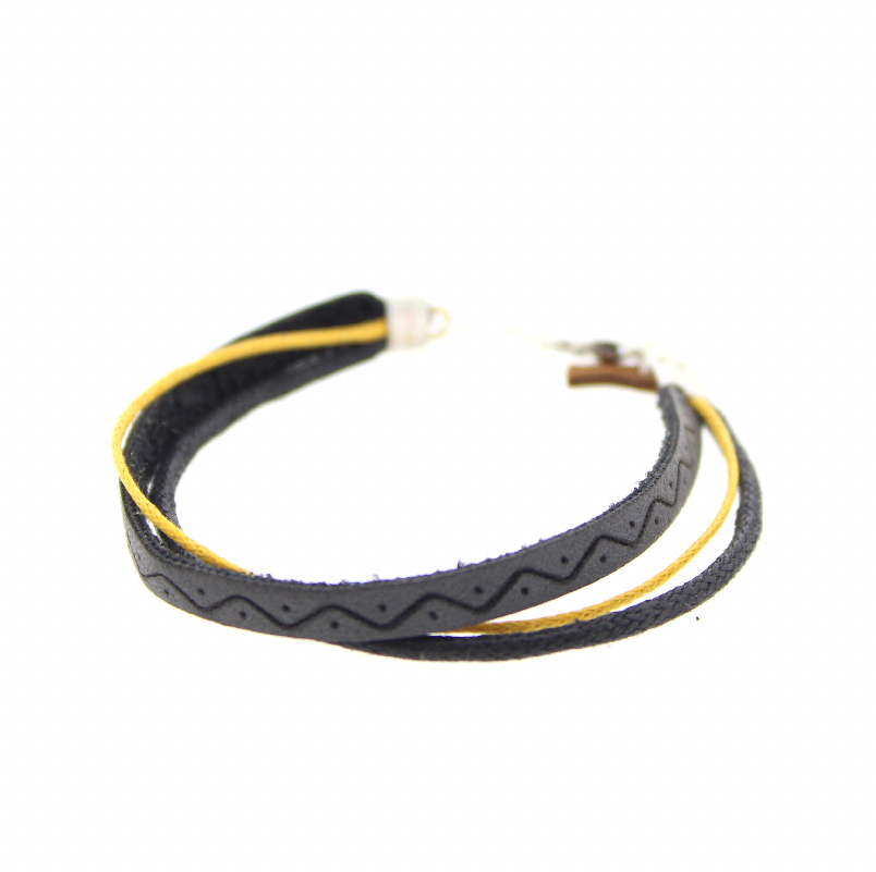Armband Leather Okergeel