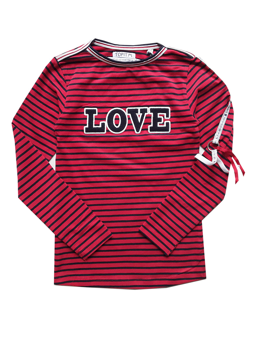 Top Carin Red Navy Stripe