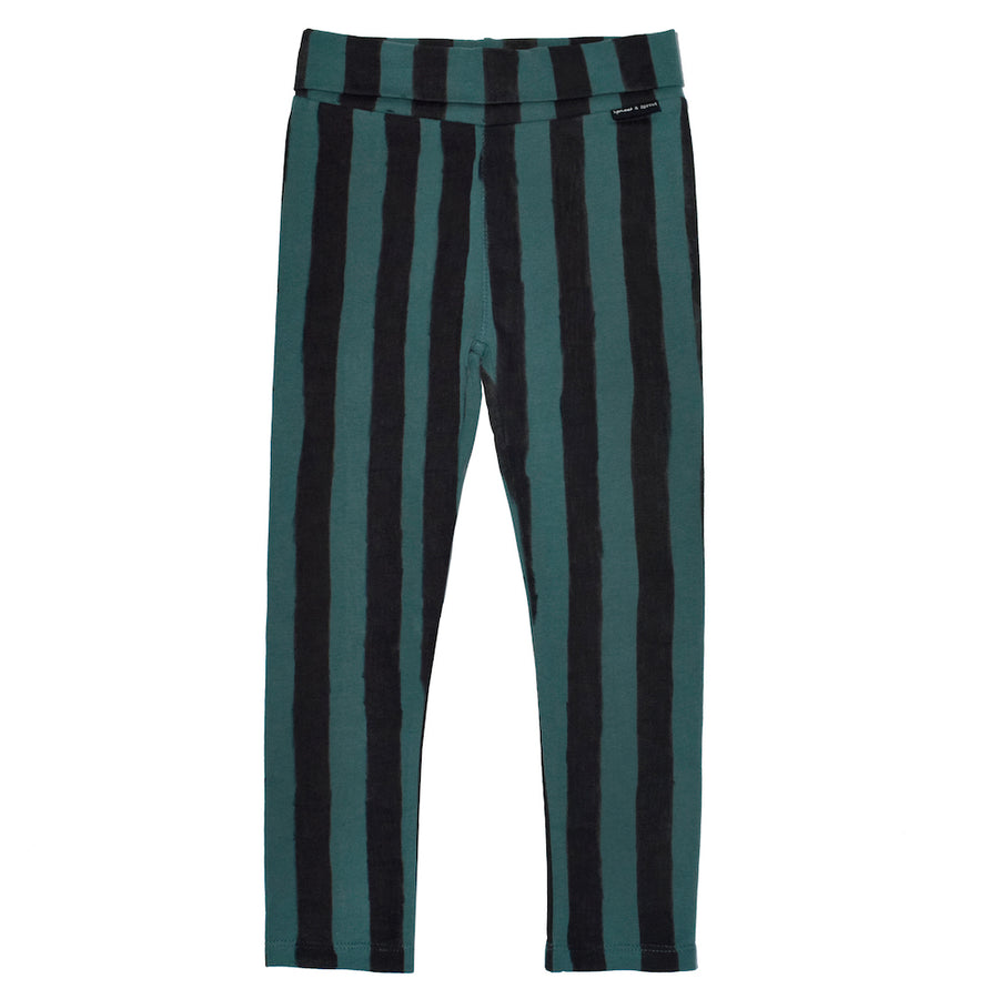 Legging Skinny Forrest Green & Black Stripe