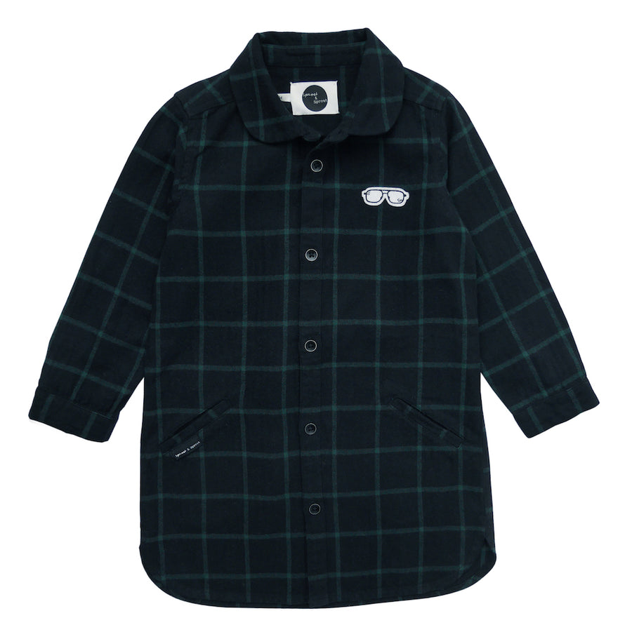 Jurk Check Black & Forrest Green
