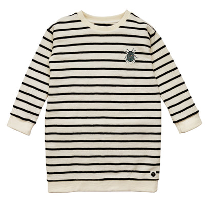 Sweatjurk Beetle Embroidery Black & Milk Stripe