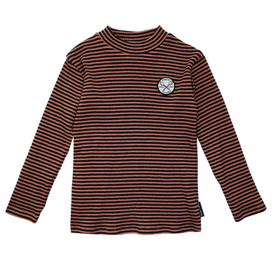 Turtle Neck Marshmallow Badge Black & Cedar Stripe