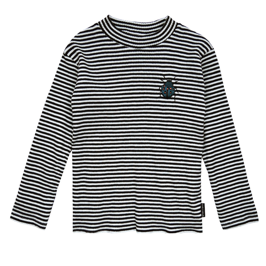 Turtle Neck Beetle Black & Milk Stripe