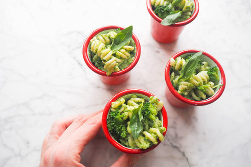 Easy homemade pesto pasta.