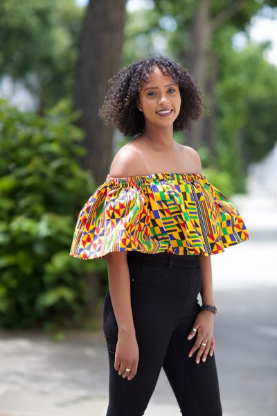 Samantha off-the-shoulder Crop Top with Frill