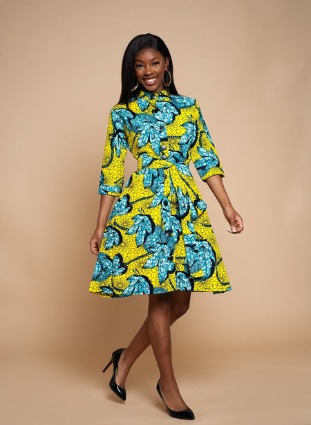 Mimi Mixed print Midi Dress