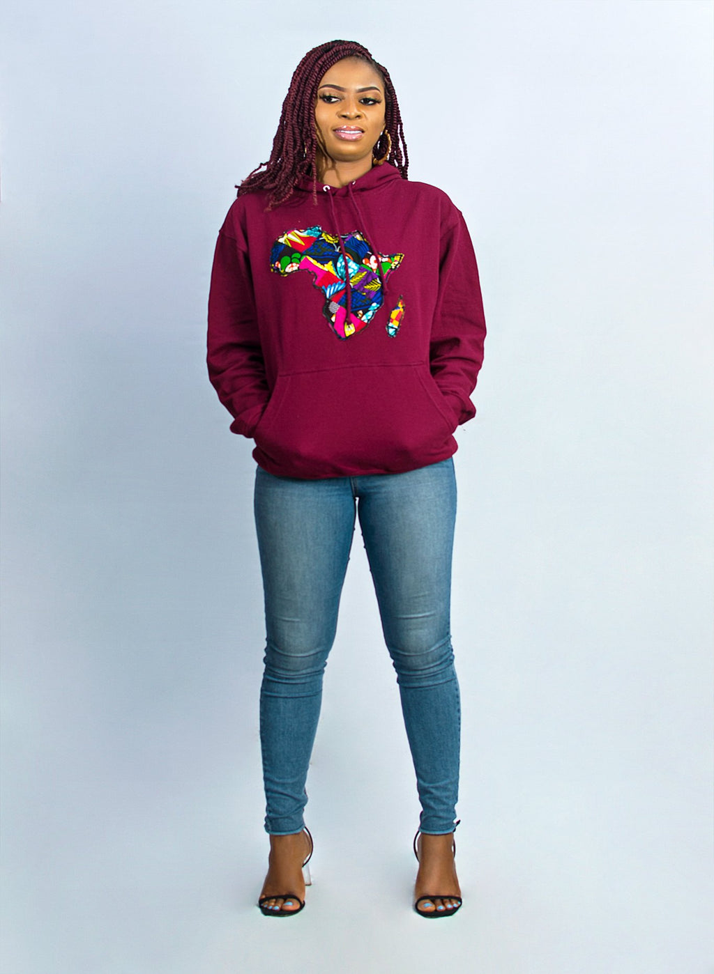 African Map Burgundy Hoodie Top
