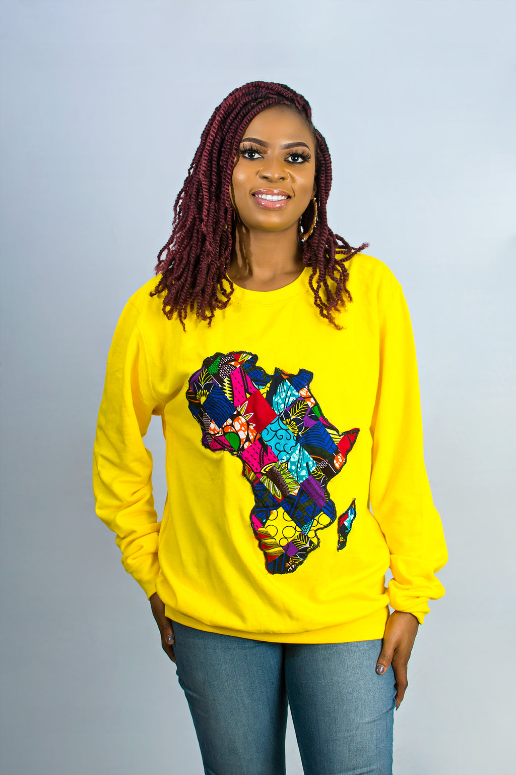 African Map Yellow Sweatshirt Top