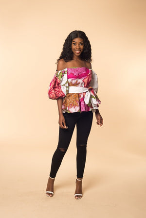 Victoria off shoulder Peplum Top - M.A.DKollection