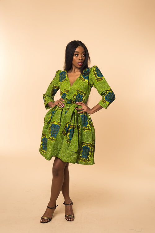 Yejide Wrap Midi Dress - M.A.DKollection