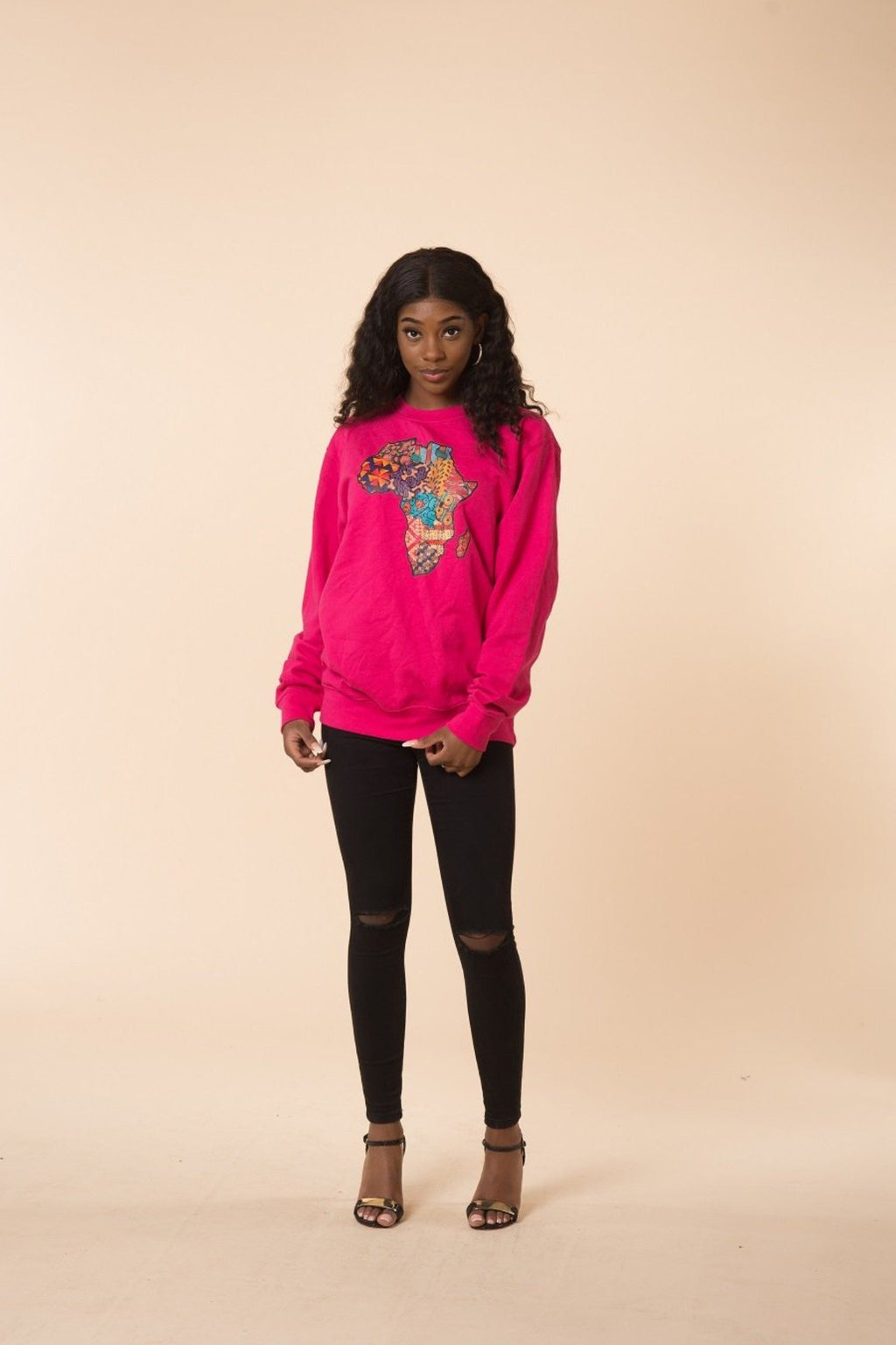 African Map Pink Sweatshirt Top - M.A.DKollection