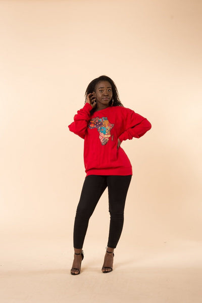 African Map Red Sweatshirt Top - M.A.DKollection