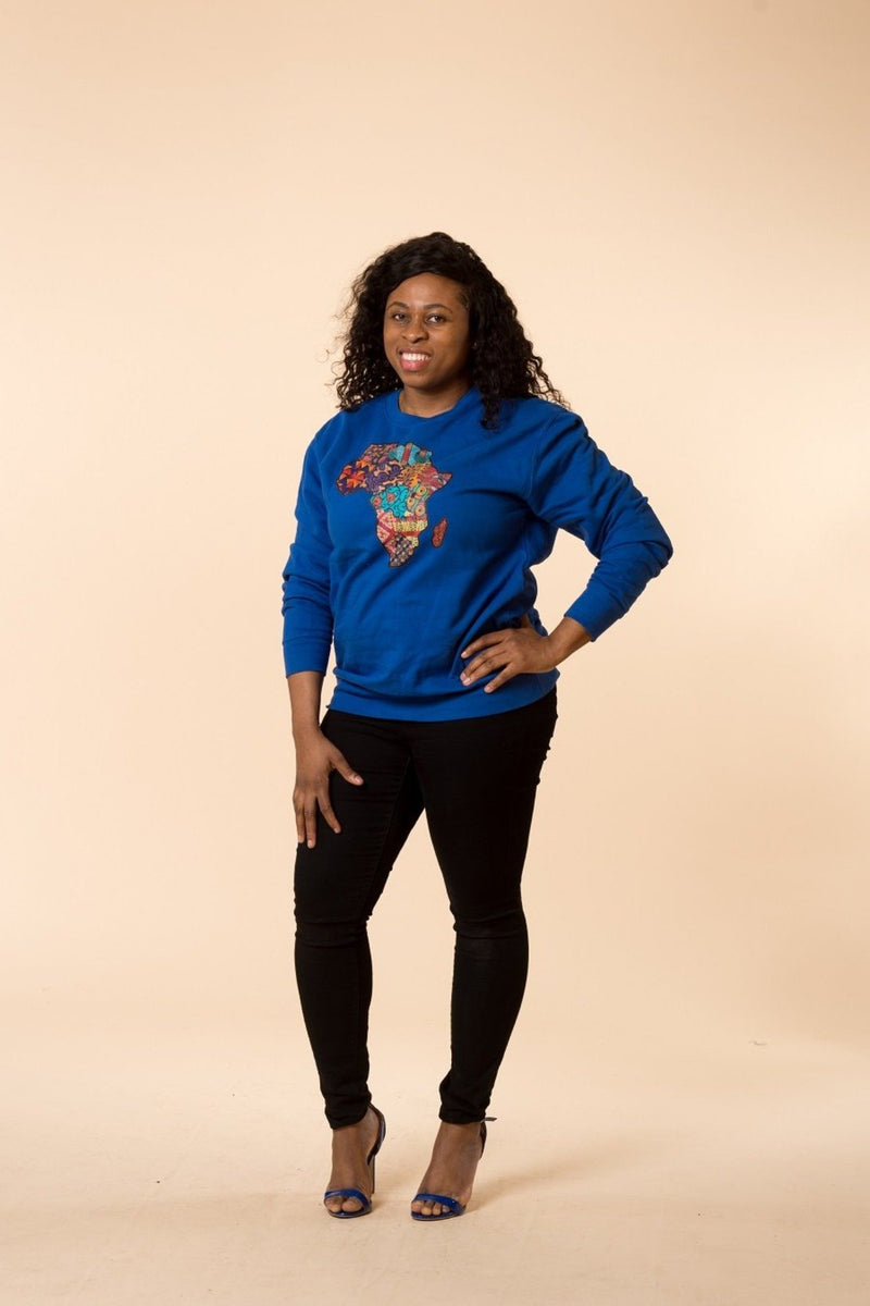 African Map Blue Sweatshirt Top - M.A.DKollection