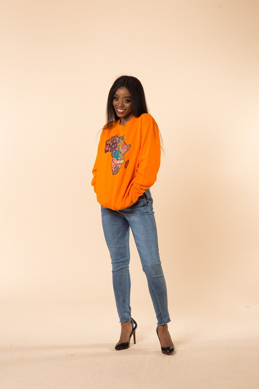 African Map Orange Sweatshirt Top - M.A.DKollection