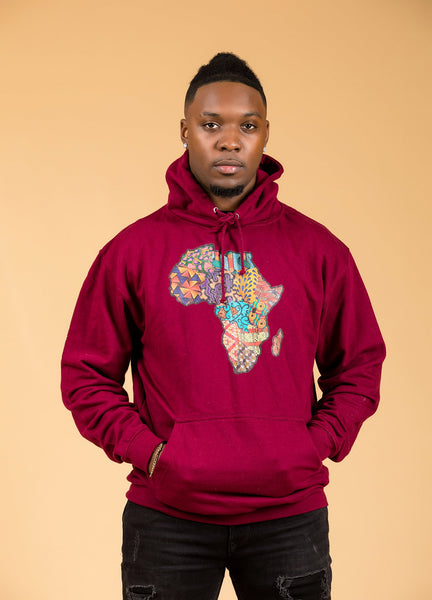 African Map Burgundy Hoodie Top - M.A.DKollection