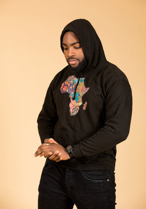 African Map Black Hoodie Top - M.A.DKollection