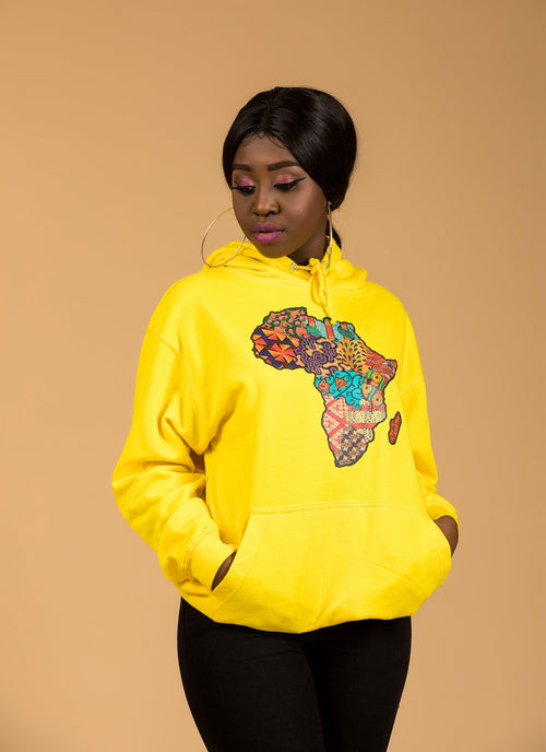 African Map Yellow Hoodie