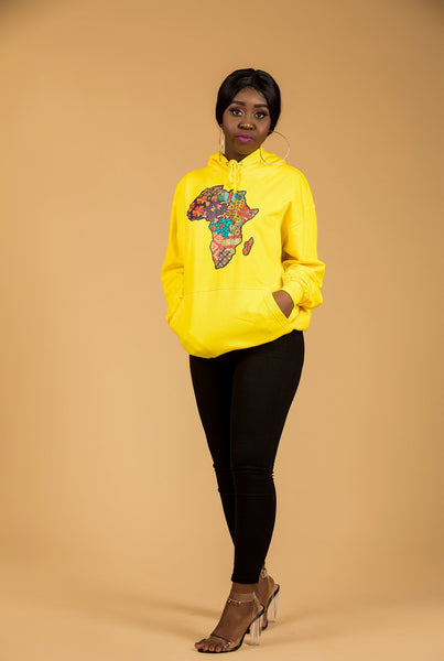 African Map Yellow Hoodie Top - M.A.DKollection