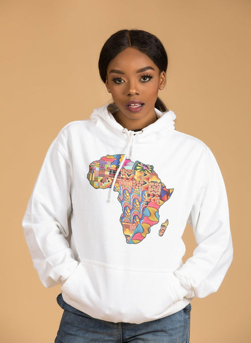 African Map White Hoodie