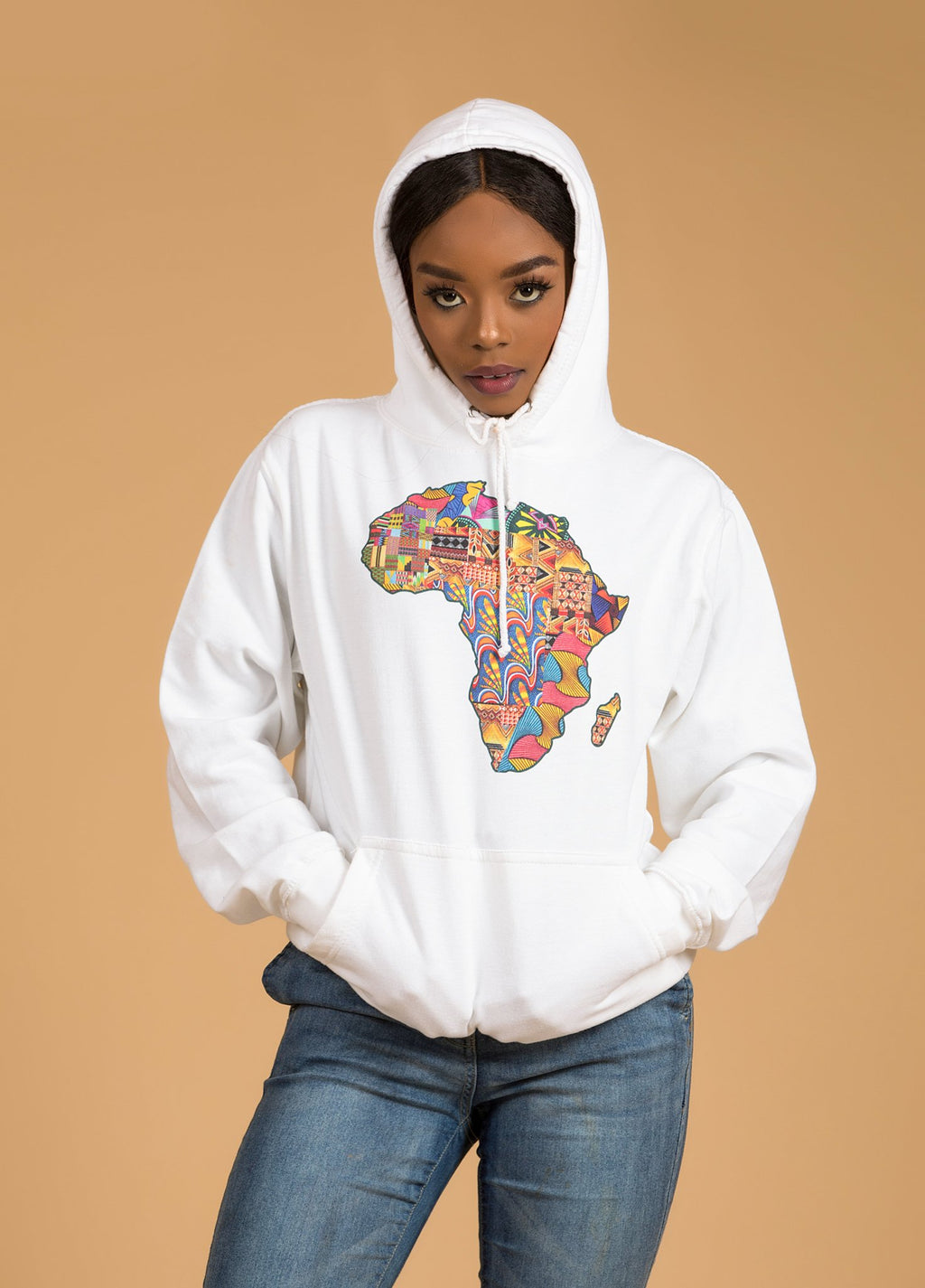 African Map White Hoodie Top - M.A.DKollection