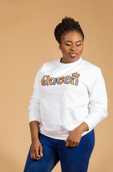 African Queen White Sweatshirt Top - M.A.DKollection