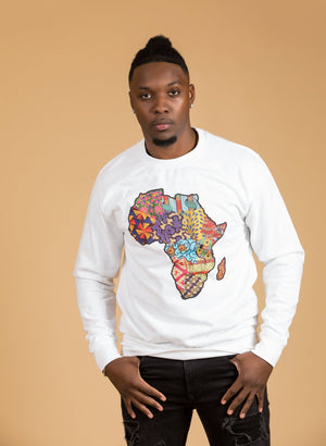 African Map White Sweatshirt Top - M.A.DKollection