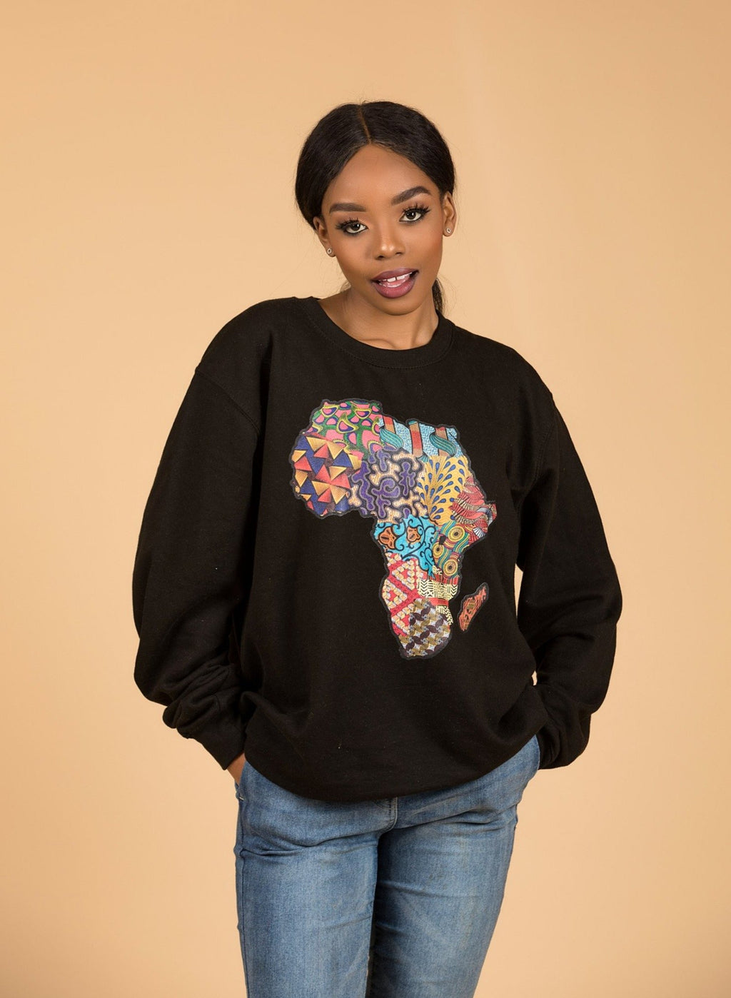 African Map Black Sweatshirt Top - M.A.DKollection