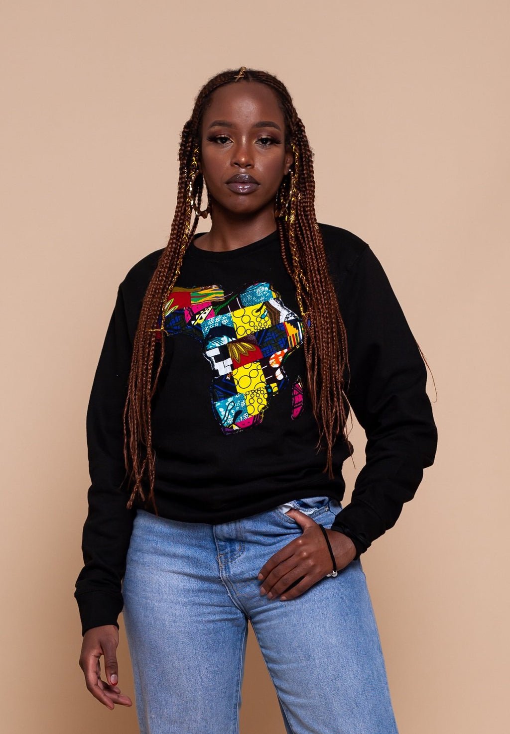African Map Black Sweatshirt Top