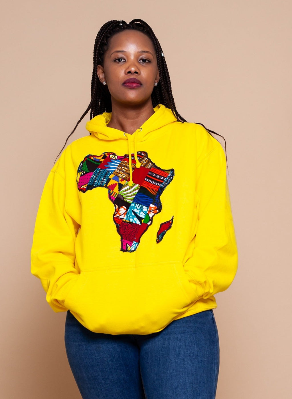 African Map Yellow Hoodie Top
