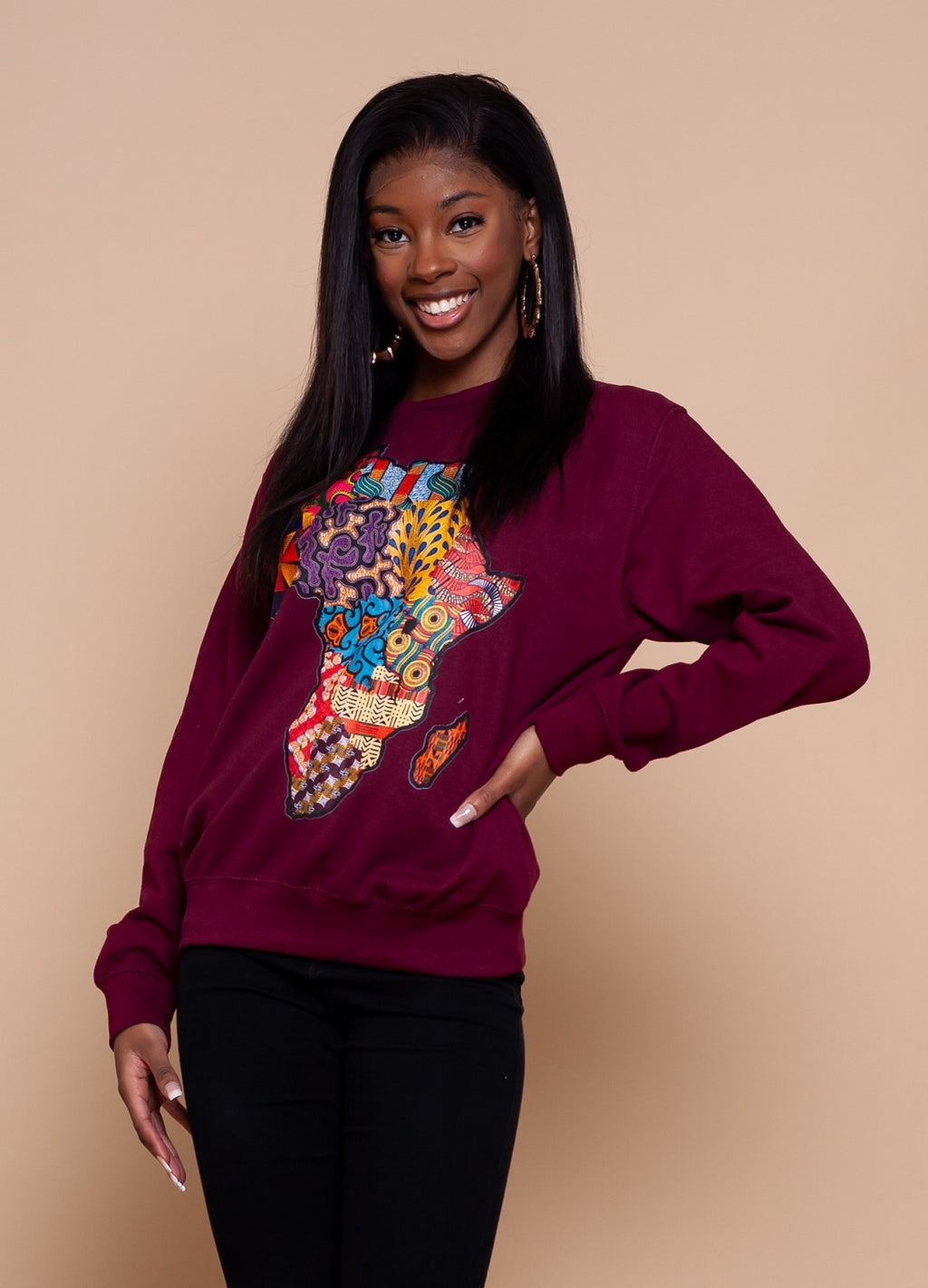African Map Burgundy Sweatshirt Top