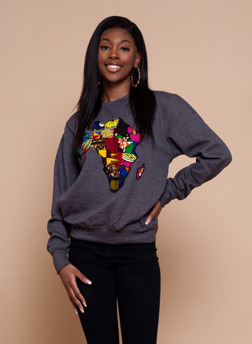 African Map Grey Sweatshirt Top