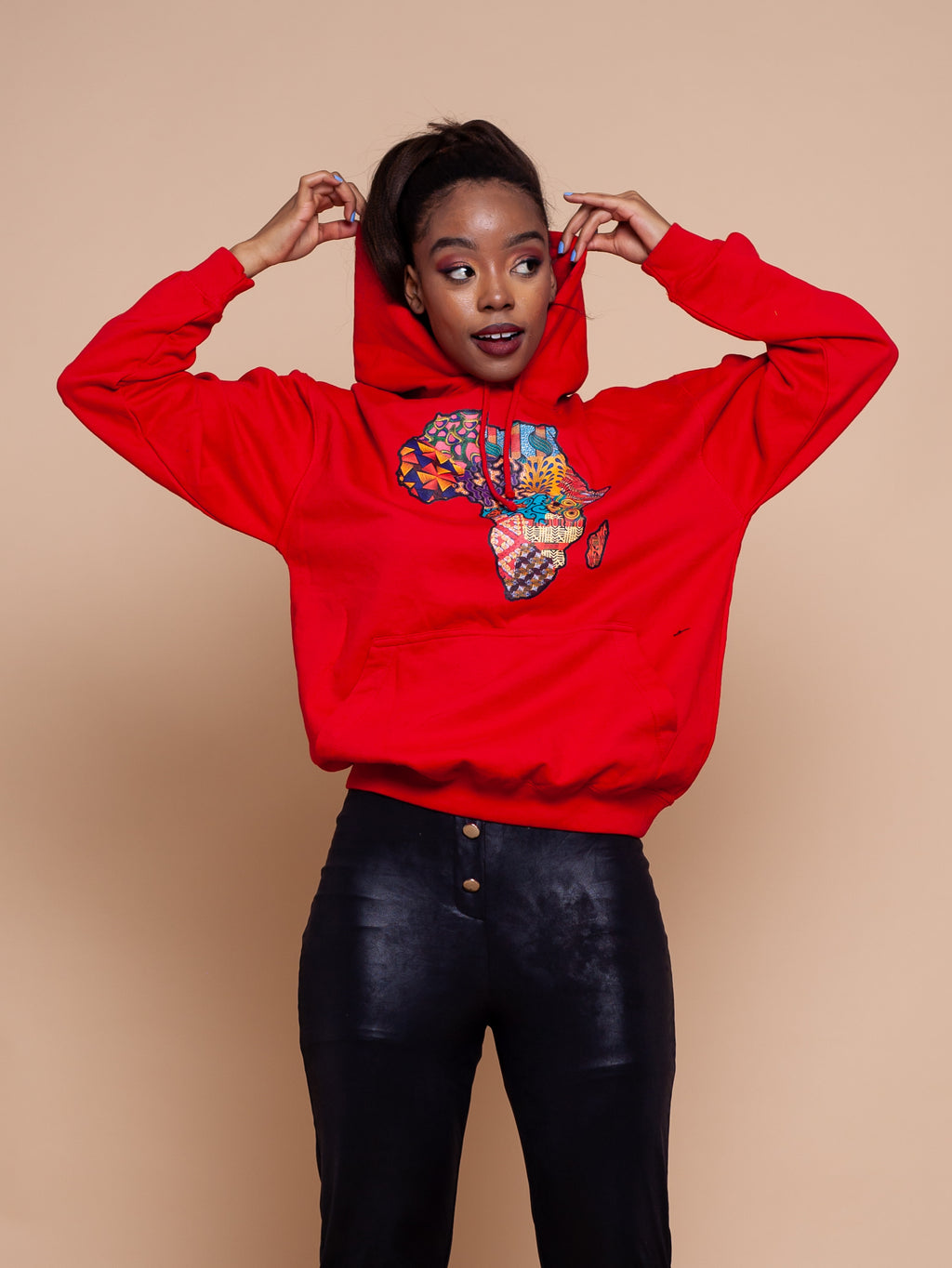 African Map Red Hoodie Top