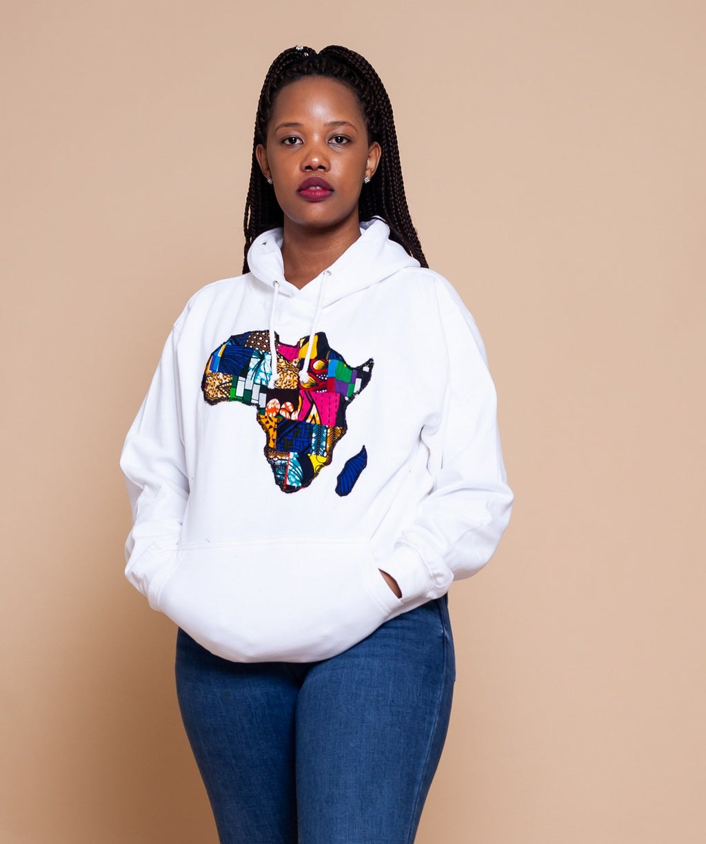 African Map White Hoodie Top