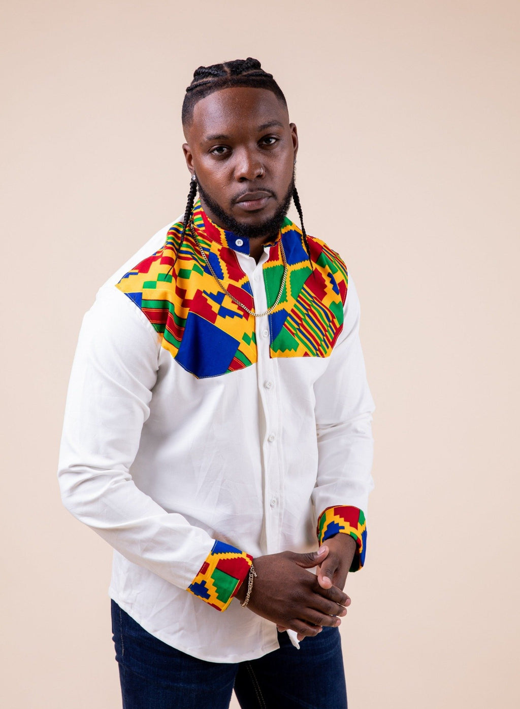 Kwesi Long Sleeve Mixed Print Men Shirt - M.A.DKollection