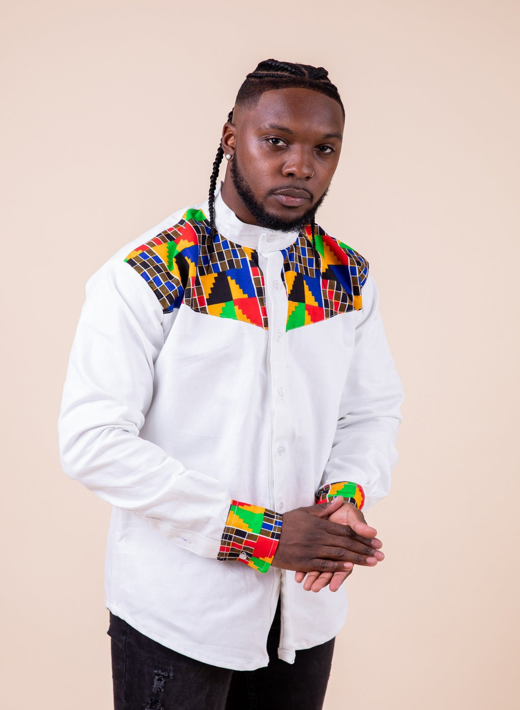 Kwame Long Sleeve Mixed Print Men Shirt - M.A.DKollection