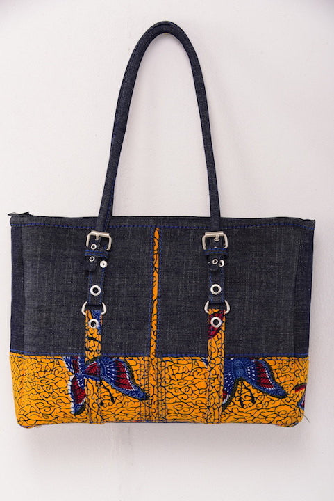 Ankara Bag with Denim Detail - M.A.DKollection