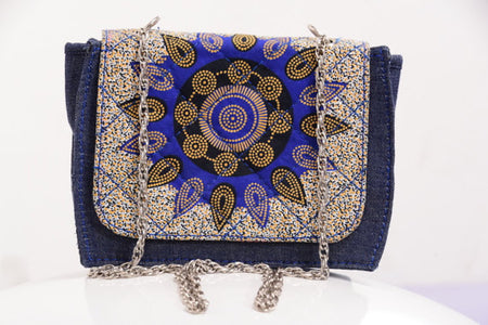 Ankara Bag with Denim Detail