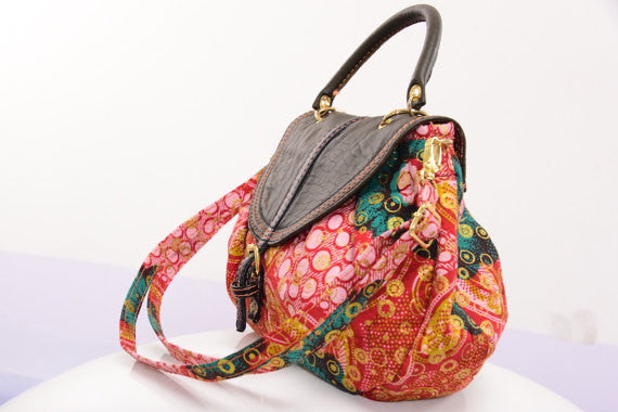Ankara Bag with leather detail - M.A.DKollection