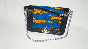Ankara Leather detail Bag - M.A.DKollection