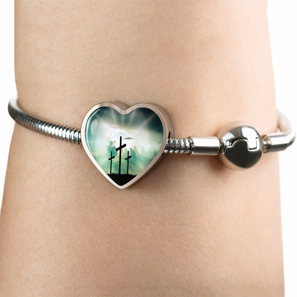 3 Crosses Heart Shaped Charm Bracelet